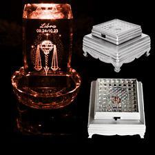 3D Crystal Glass Trophy Laser Display Base 3 LED Battery Light Up Stand Sliver
