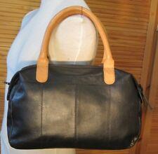 'Pieces' black leather tote/ Shoulder bag tan handles