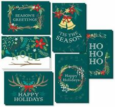 48 Pack Christmas Greeting Cards W/ Craft Envelopes 6 Winter Holiday Designs