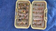 FLY BOX AND TROUT FLIES  (4)