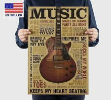 Vintage Retro Guitar Poster Rock Pub Bar Home Poster Music Wall Art Decor