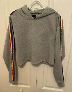 Ci Sono Women's Cropped Hoodie Long Sleeve rainbow trim Sweatshirt size L