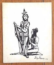 DIEGO RIVERA ORIGINAL -NOBLE LADY- INK ON CARDBOARD DRAWING