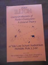 1971 Ivan Illich Yale Lecture Poster Counterproductivity of Modern Institutions