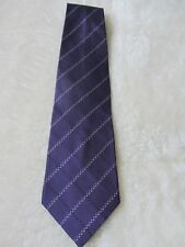 Thomas Nash Mens Purple & White Striped  Silk Tie
