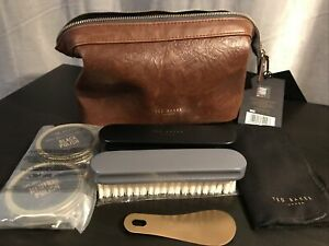 TED BAKER - 7 Piece - Shoe Shine Kit In Brown Faux Leather Case Brand New