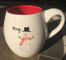 Rae Dunn Merry Snowman Rare Christmas CoffeeMug New Artisan Collection Gift Idea