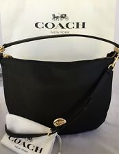 COACH 36762 Turnlock Pebble Leather Hobo Shoulder Bag LI/Black Purse NWT