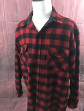 LL Bean Men's Shirt Buffalo Plaid Red Wool Blend Button Up Heavy Flannel USA 2XL