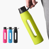 BPA Free Glass Water Bottle with Twist Cap and Soft Silicone Sleeve 570ml 19oz