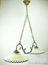 Lampadario ottone brunito liberty sospensione due luci,piatti ceramica l2r2011
