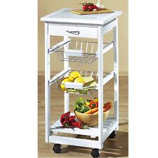 Küchenwagen weiß 47x37x75cm Servierwagen Küchentrolley Beistellwagen