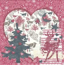 Lot de 2 serviettes en papier Décor hiver Noël Decoupage Collage Decopatch