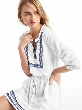 NWT GAP Embroidery split-neck dress, White SIZE MT M T     #527363  v4