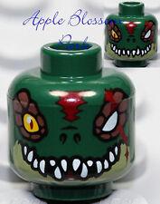 NEW Lego DARK GREEN MINIFIG HEAD Chima Cragger w/Scar & Monster Croc Fang Teeth