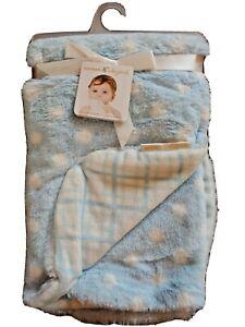 Blankets & Beyond Baby Boy Blanket Blue & White Polka Dots  28x32