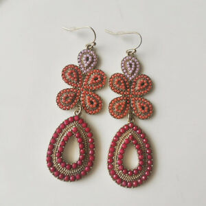 New Stella&Dot Bead Floral Drop Dangle Earrings Gift Fashion Women Party Jewelry
