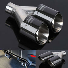 Stainless Carbon Fiber Exhaust Tip Dual Pipe muffler 63mm resistant grease oil