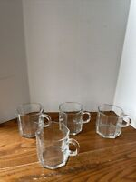 Glass Mugs Arcoroc Octime  Octagon France Clear Set Of 4