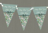 Vintage Green Bow Personalised Shabby Chic Garden Tea Party Bunting