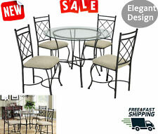 Dining Table and Chairs Set Round Glass Top Kitchen Sun Room Porch 5 Piece Sets