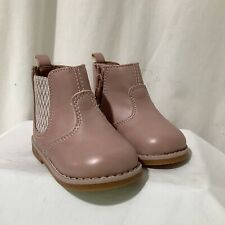 Girls H&M Pink Faux Leather Ankle Boots Size UK3 EU18-19 Infant Toddler NEW