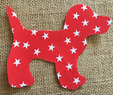 Fabric Iron on Red with White Stars Dog- Bunting Making - Personalisation