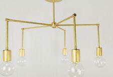 Mid century 5 Arms modern brass chandelier light fixture - 5 Light Chandelier