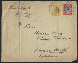 BRITISH TANGANYIKA 1929 FRANKED SG 94 95 BY PRIVATE BAG TO GERMANY VERTICAL FOLD