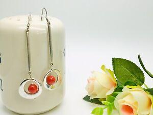 Handmade Red Earrings Silver Geometric Art Deco Oval Round Long Hooks Elegant