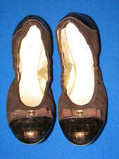 8.5 M Elie TAHARI Brown Gold Ladies Ballet Shoes Slipper Leather Croc Bow GIBSON