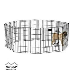 "Dog Pet Animal Metal Exercise Pen Play Area Black 24""H & Door Fence New"
