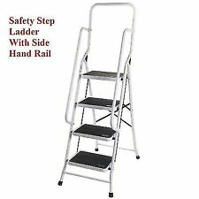Foldable Non Slip 4-Step Steel Ladder with Safety Handrail