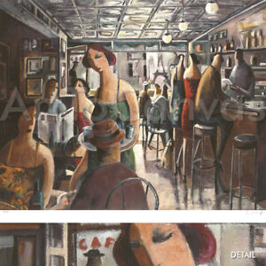 """Image 38""""x30"""" BAR IN NEW YORK by DIDIER LOURENCO NUMBERED #27/195 SIGNATURE S/N"""