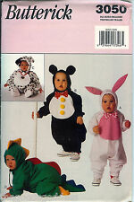 Butterick 3050 Animal Baby Toddler Costume Pattern UNCUT FF Dragon Bunny Penguin