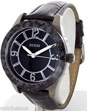 Guess Women W0014L3-A Black Ion Plated Steel Animal Print Leather Bracelet Watch