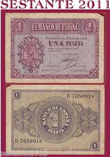 SPAIN / SPAGNA - 1  PESETA  1937   -  P  104    -   MB / F