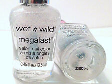Wet N Wild Megalast Salon Nail Polish # D186 White and Stormy Holo Glitter VHTF