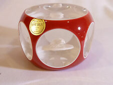 ST LOUIS CRYSTAL Red Overlay Gen deGaulle Paperweight Original Box & Certificate