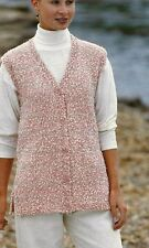 "#195, Ladies Chunky Long Waistcoat 32-40"" 81-102cm Vintage Knitting Pattern"