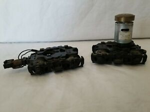 ONE PAIR of MTH O-SCALE 4-AXLE GEARED TRUCKS (ONE WITH MOTOR)