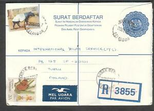 Malaysia 1987 registered Surat Berdaftar cover Sabak Selangor to Turku Finland