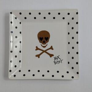 Betsey Johnson Polka Dot Skull Square Trinket Plate Dish - Black, White, Gold