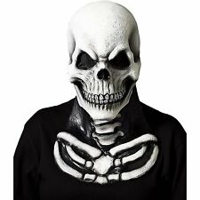 Mens Skull Mask with Skeleton Chest Piece Halloween Scary Fancy Dress Horror