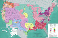 "24""x36""  Indian Tribes Political Topographical and Physical Maps of USA"