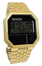 Nixon A158502 Re-Run All Gold Black Digital Dial Steel Bracelet Men Watch NEW