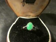 Lovely Art Deco Chinese 18ct White Gold & Natural Jade Ring