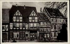 Quedlinburg Harz Sachsen-Anhalt ~1940 Strassen Partie am Kloppstock-Haus alte AK