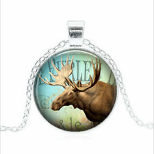 Moose Collage Tibet silver Glass dome Necklace chain Pendant Wholesale