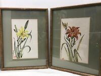 Floral Watercolor Original Painting W/Chinese Chop Seal Signed Bernhardt Set